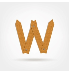 Wooden boards letter w vector