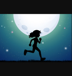 Silhouette of girl jogging in park vector