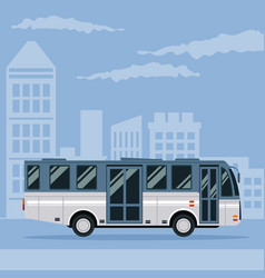 color poster city landscape with bus vehicle vector image