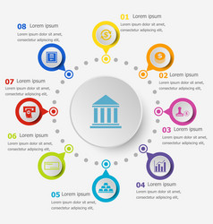 Infographic template with banking icons vector