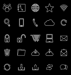 Communication line icons on black background vector
