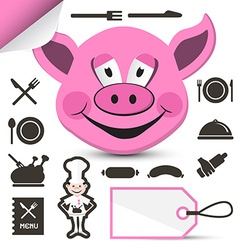 Pink pig head - chef and restaurant menu icons set vector