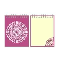 Purple cover notebook with round pattern vector