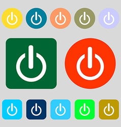Power sign icon switch symbol 12 colored buttons vector