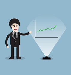 Stock raise up with business man presentation and vector