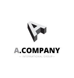 Isometric monochrome a letter logo company vector