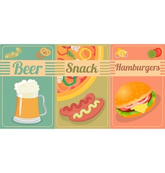 Set of beer and snacks vector