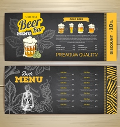 Vintage chalk drawing beer menu design vector