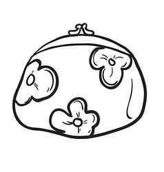 Black and white coin purse vector