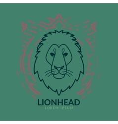Lion head logo in frame vector image