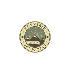 Camping Label Vintage Mountain ski patrol patch vector image