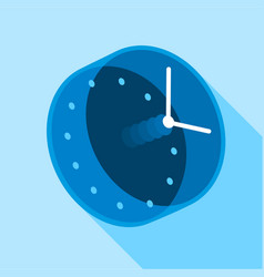 Blue modern clock icon flat style vector