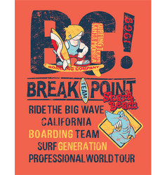 Break point kids surfing shark team vector