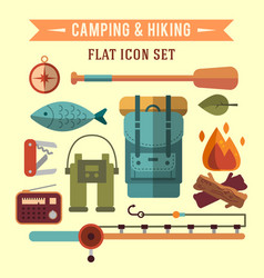 camping flat set with hiking equipment vector image vector image