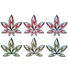 cannabis marijuana leaf peaceful snake symbol vector image vector image