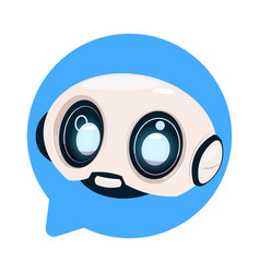Chatter bot cute robot icon in speech bubble icon vector