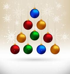 Christmas balls hanging like fir tree on beige vector image