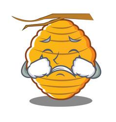 Crying bee hive character cartoon vector
