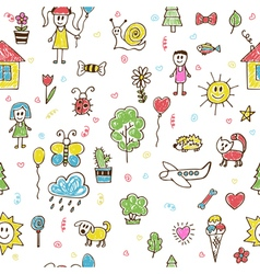 Hand drawn children drawings color seamless vector image vector image