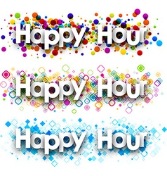 Happy hour colour banners vector