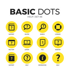help flat icons set vector image vector image