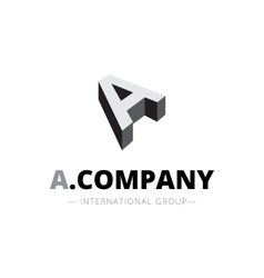 isometric monochrome A letter logo Company vector image vector image