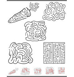 maze leisure game set vector image