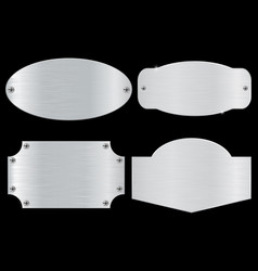 metal plates on black background vector image vector image
