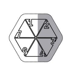 Monochrome contour sticker of hexagon figure with vector