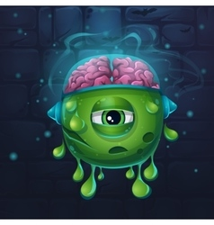 Monsters cartoon slug with brains vector image