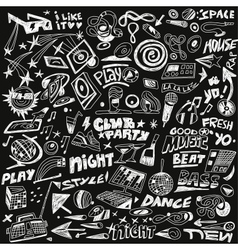 Music party - doodles set vector