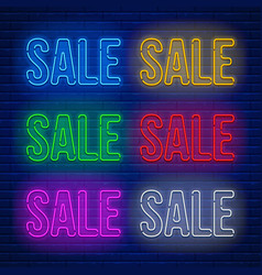 neon colored signs set vector image