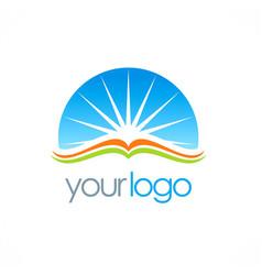 Open book sun shine education logo vector