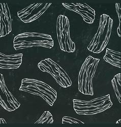 Pork bacon seamless isolated on a black vector