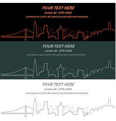 San francisco event banner hand drawn skyline vector