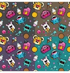 Seamless pattern with monster and weet food vector