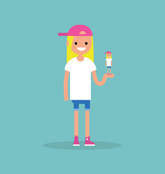 self presentation young female character holding vector image