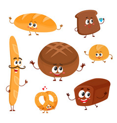 Set of funny bread bakery characters with human vector