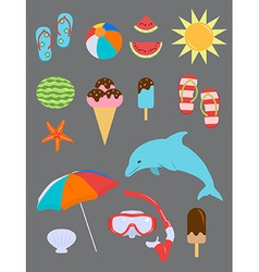 Set of Summer Fun Objects vector image