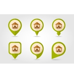 Shed flat mapping pin icon with long shadow vector