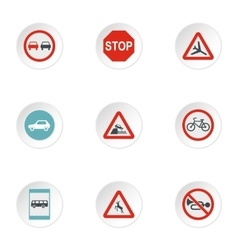 Sign warning icons set flat style vector image vector image