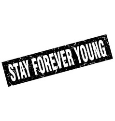 Square grunge black stay forever young stamp vector
