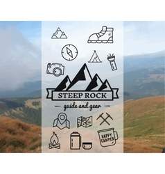 Summer steep rock camp badge logo template vector