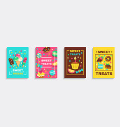 Sweet party treats posters set vector