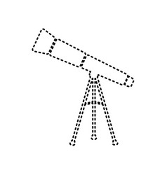 Telescope simple sign black dashed icon vector
