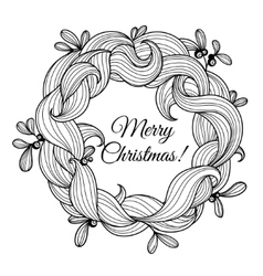 Template greeting card with christmas wreath vector