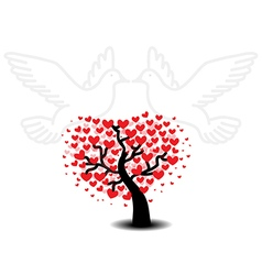 Tree of love with seagulls vector image