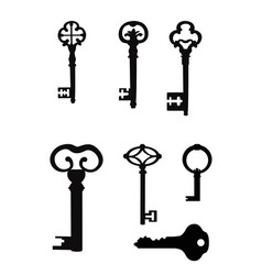 vintage key silhouette set close the door vector image vector image