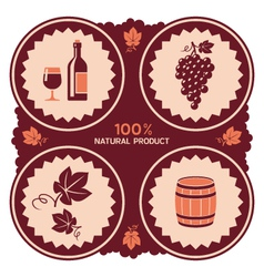 Wine label with grape and barrel icons vector image