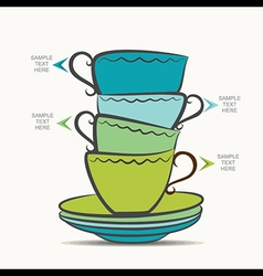 Creative tea cup and plate info-graphics design vector